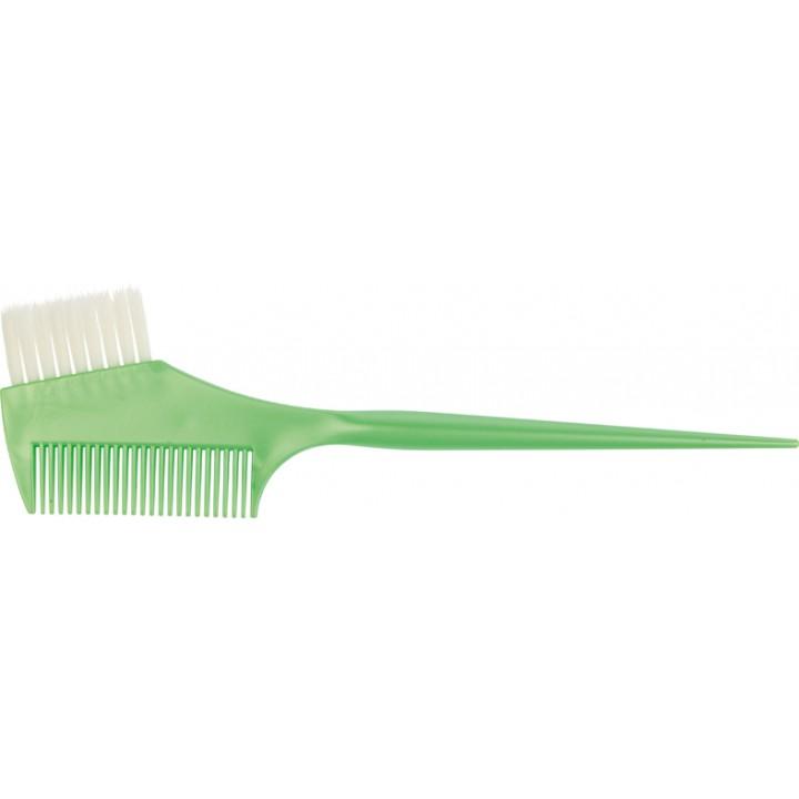 DEWAL Кисть для окраски (зеленая, с прямой белой щетиной и расческой)