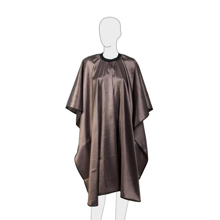 "DEWAL Пеньюар ""Глянец"", полиэстер, коричневый 128х146 см, на крючках//AA04Brown"
