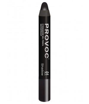 Provoc Eyeshadow Pencil 01 Тени-карандаш водостойкие (черный, матовые)