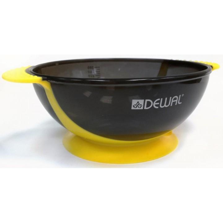 DEWAL Чаша д/окраски желтая, с двумя ручками с прорезиненной вставкой 300 мл//T-18yellow