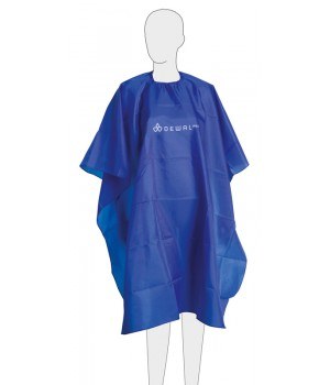 DEWAL Пеньюар для стрижки нейлон, голубой 128х140см , на крючках//GS-A001