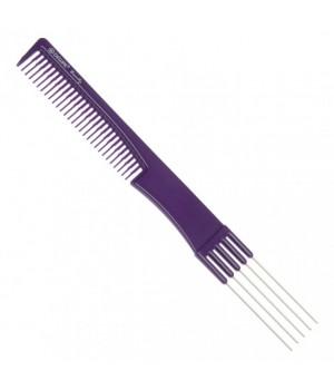 DEWAL Beauty Расчёска для начеса с металл зубцами, фиолет 19,0 см