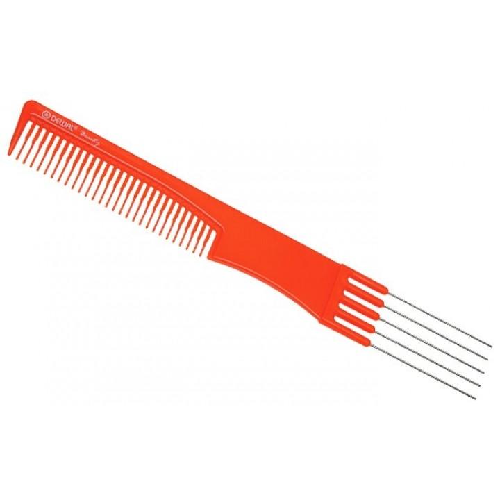 DEWAL Beauty Расчёска для начеса с металл зубцами, оранж 19,0 см
