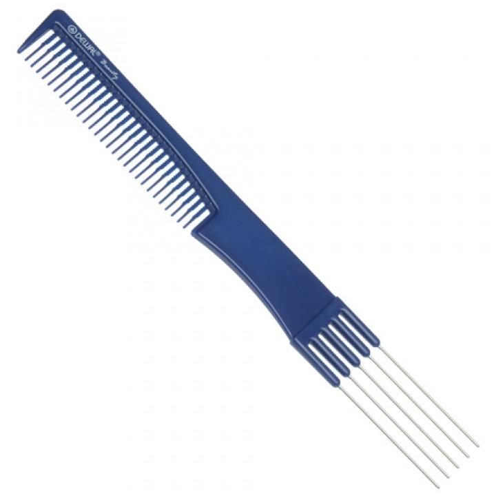 DEWAL Beauty Расчёска для начеса с металл зубцами, синяя 19,0 см