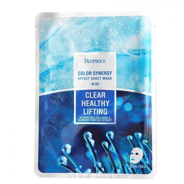 Маска тканевая морской коллаген  DEOPROCE COLOR SYNERGY EFFECT SHEET mask blue, 20 гр