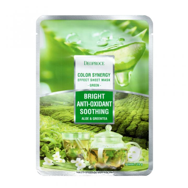 Маска тканевая на основе экстрактов алое и зеленого чая DEOPROCE COLOR S. EFFECT  mask green, 20 гр
