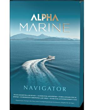 ALPHA MARINE Набор Navigator (шампунь 250 + гель для бритья + лосьон после бритья + сыв