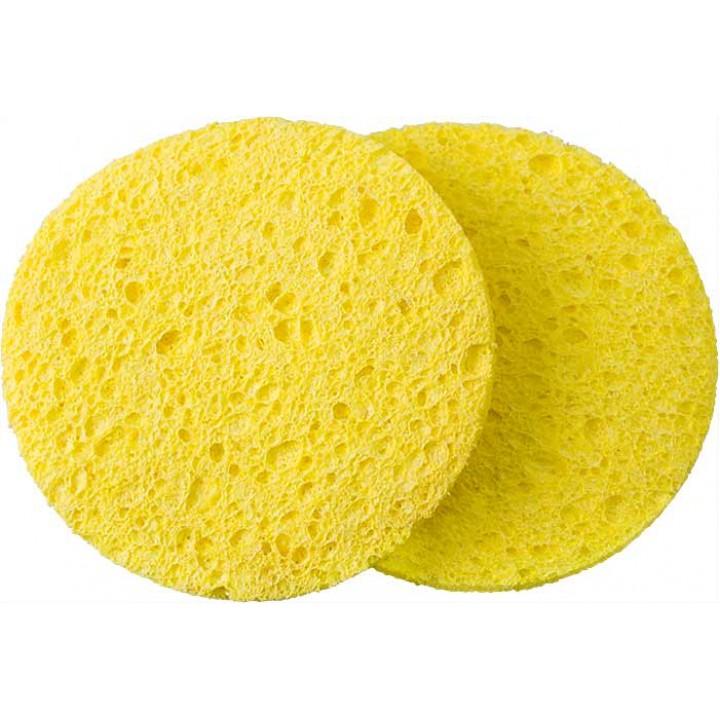 DEWAL Спонж Beauty для снятия макияжа, желтый, 85*85*10 мм, 2 шт.