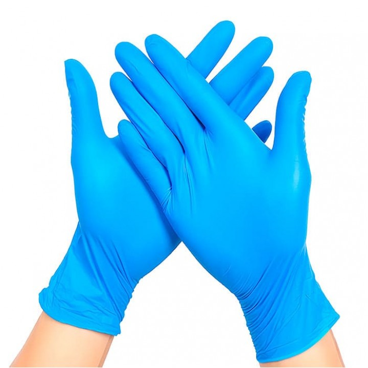 Перчатки нитриловые смотровые неопудренные, синие, S, 100шт. в уп. Малайзия