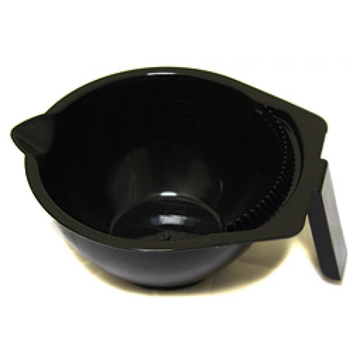 DEWAL Чаша д/окраски черная, с ручкой, носиком и расческой на бортике, с резинкой на дне 300мл