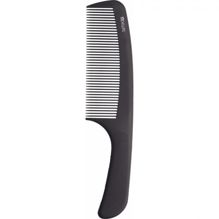 DEWAL Расческа серия SUPER thin с ручкой, широкая, черная 20,5см//CF017