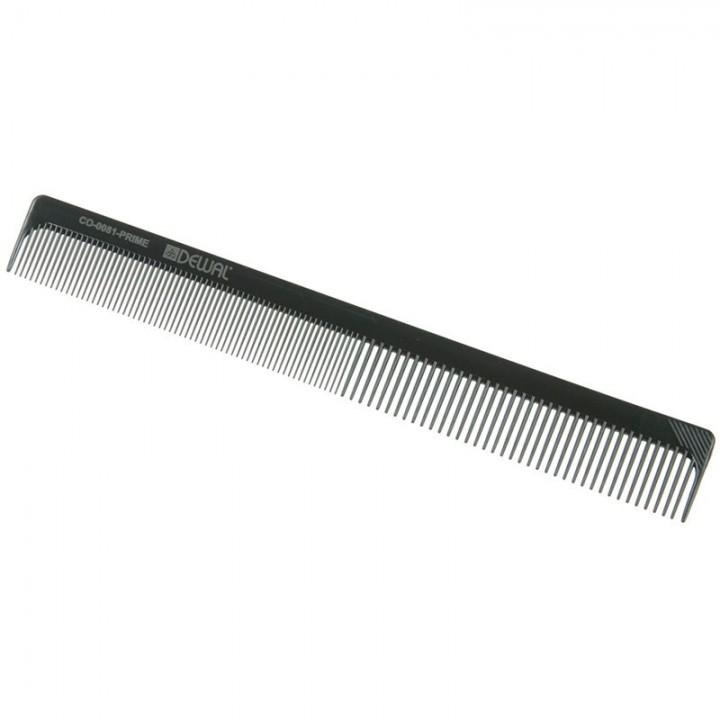 DEWAL Расчёска рабочая PRIME комбинированная, черная 18 см//CO-0081-PRIME