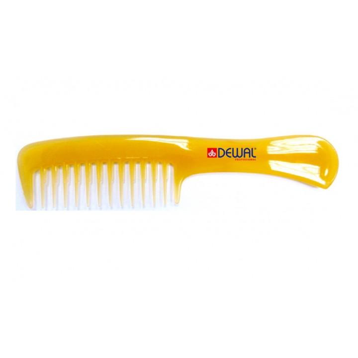 DEWAL Расчёска PROSUN рабочая с ручкой, антистатик, желтая 20 см//CO-6807-SO