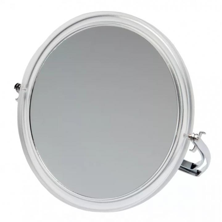 DEWAL Зеркало настольное в прозрачной оправе, на металл.подставке 165*163*10мм//MR109