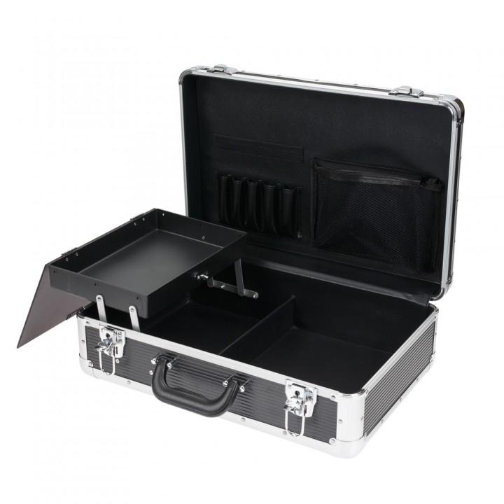 DEWAL Чемодан для парикмахерских инструментов, пластик, черный 45*30,5*16см