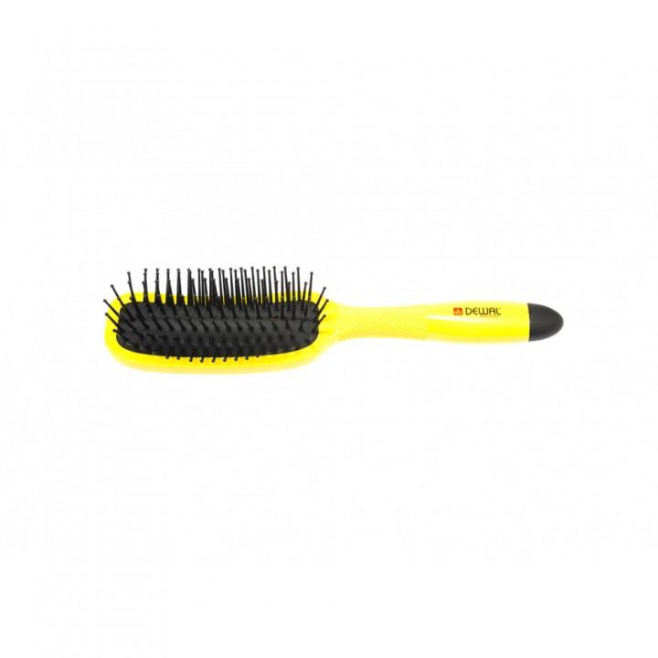 DEWAL Щетка массажная BANANA BLACK прямоугольная, узкая, пластиковый штифт, 7рядов//BNN85