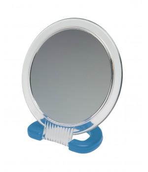 DEWAL Зеркало настольное в прозрачной оправе, на пластик.подставке синего цвета 230*154мм//MR110
