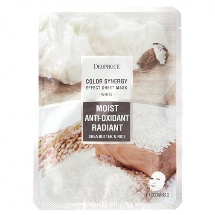 Маска тканевая на основе масла ШИ и рисовой воды  DEOPROCE COLOR S. E. S. mask white, 20 гр